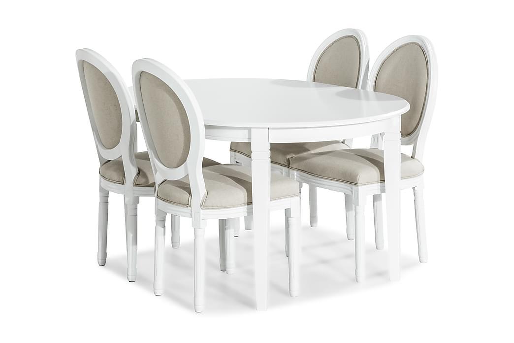 Läckö Spisegruppe Forlengningsbar med 4 Lewis Stol - Hvit/Beige - Møbler - Spisegrupper - Oval spisegruppe