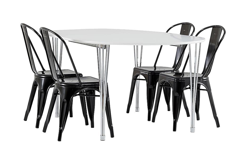 Tyson Forlengningsbar Spisegruppe 160 cm med 4 Amparo Stol - Hvit/Krom/Svart - Møbler - Spisegrupper - Oval spisegruppe