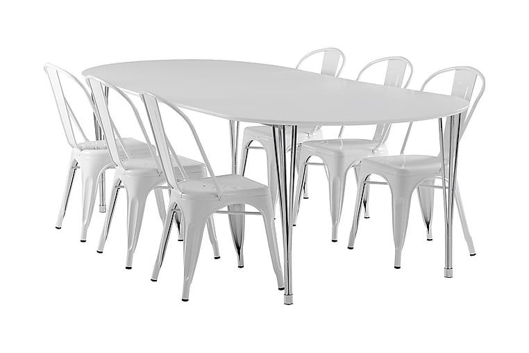 Tyson Forlengningsbar Spisegruppe 160 cm med 6 Amparo Stol - Hvit - Møbler - Spisegrupper - Oval spisegruppe