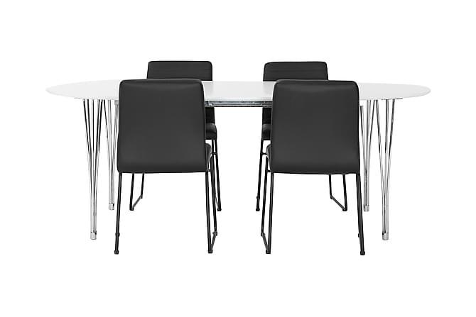 Tyson Spisegruppe 160 cm + 4 Dewar Stoler - Hvit/Krom/Svart - Møbler - Spisegrupper - Oval spisegruppe