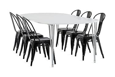 Tyson Spisegruppe 160 cm + 6 Amparo stol