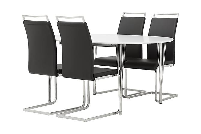 Tyson Spisegruppe Oval med 4 Isoda Stoler - Hvit/Svart - Møbler - Spisegrupper - Oval spisegruppe