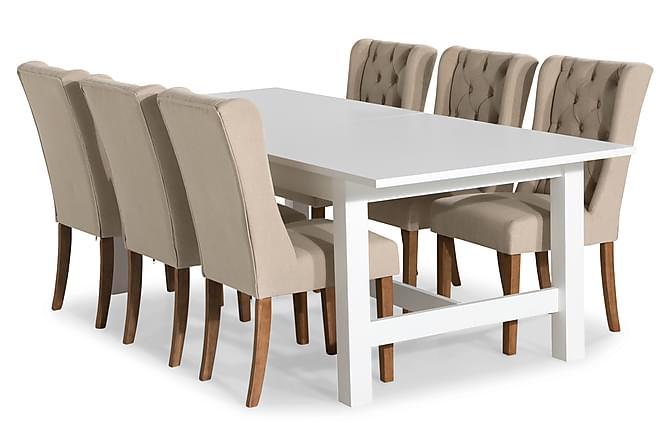 Altea Spisegruppe Forlengningsbar 240 cm med 6 Irma Stoler - Hvit/Beige - Møbler - Spisegrupper - Rektangulær spisegruppe