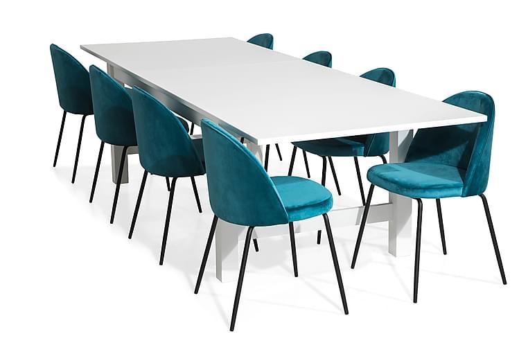 Altea Spisegruppe Forlengningsbartt med 8 Felipe  Fløyel - Hvit/Blå/Svarte Ben - Møbler - Spisegrupper - Rektangulær spisegruppe
