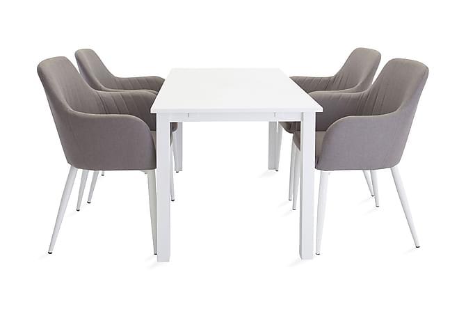 Bella Spisegruppe Forlengningsbar 120 cm med 4 Casper Stoler - Hvit/Grå - Møbler - Spisegrupper - Rektangulær spisegruppe
