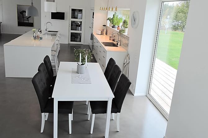 Bella Spisegruppe med 6 Åsa Stoler - Hvit/Mørkegrå - Møbler - Spisegrupper - Rektangulær spisegruppe