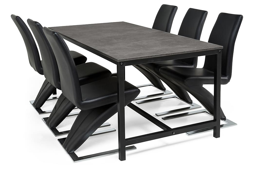 Bettina Spisegruppe 180x90 cm Svart/Betong - 6 stk Zion Spisestoler Svart Lær/Krom - Møbler - Spisegrupper - Rektangulær spisegruppe