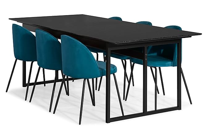 Carrie Spisegruppe Marmor med 6 Felipe Stol Fløyel - Svart/Blå - Møbler - Spisegrupper - Rektangulær spisegruppe