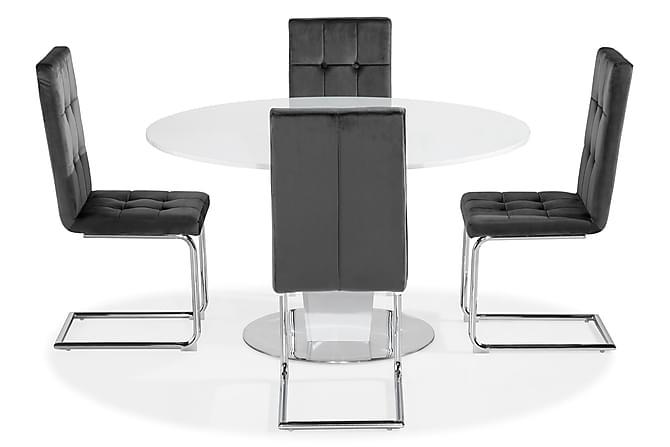 Diamond Spisebord 4 Jessed Stoler, velvet HLR-21 - Møbler - Spisegrupper - Rektangulær spisegruppe