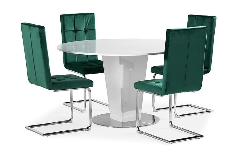 Diamond Spisebord 4 Jessed Stoler, Velvet HLR-56 - Møbler - Spisegrupper - Rektangulær spisegruppe