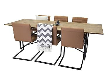Elle Spisebord+Alva Stol brun/svart 6 stk.