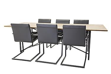Elle Spisebord+Alva Stol svart/svart 6 stk.