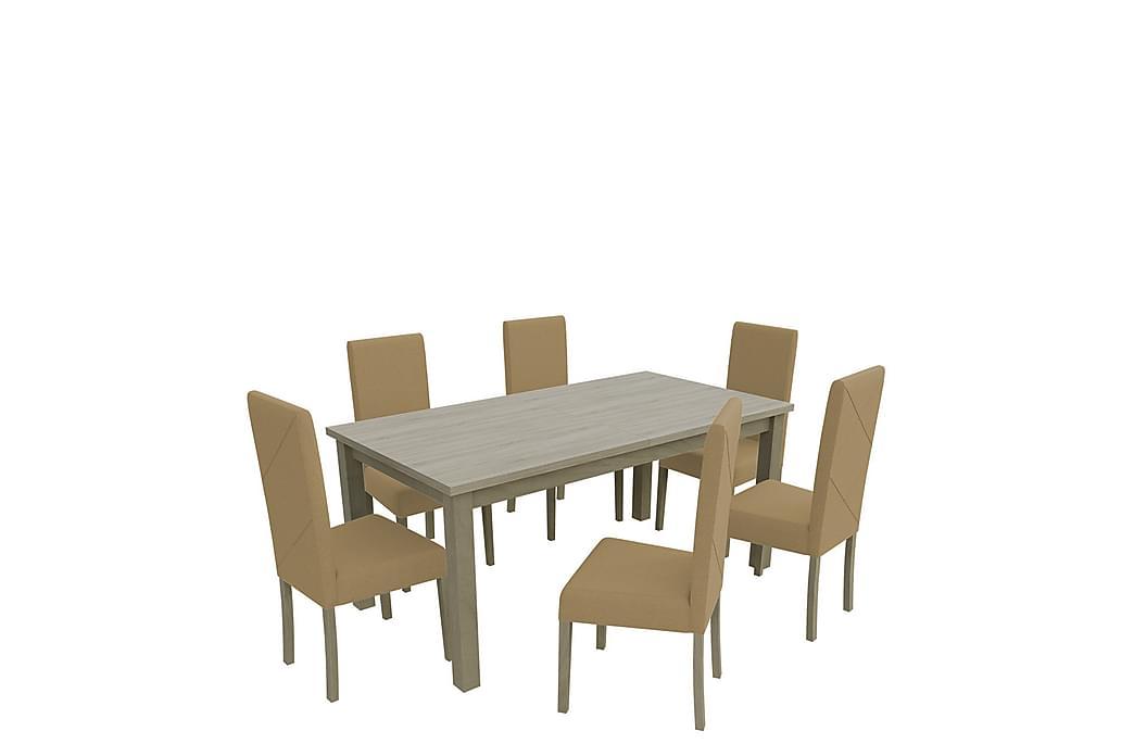 Esbo Spisegruppe 160 cm inkl. 6 Stoler - Tre/Natur/Beige - Møbler - Spisegrupper - Rektangulær spisegruppe
