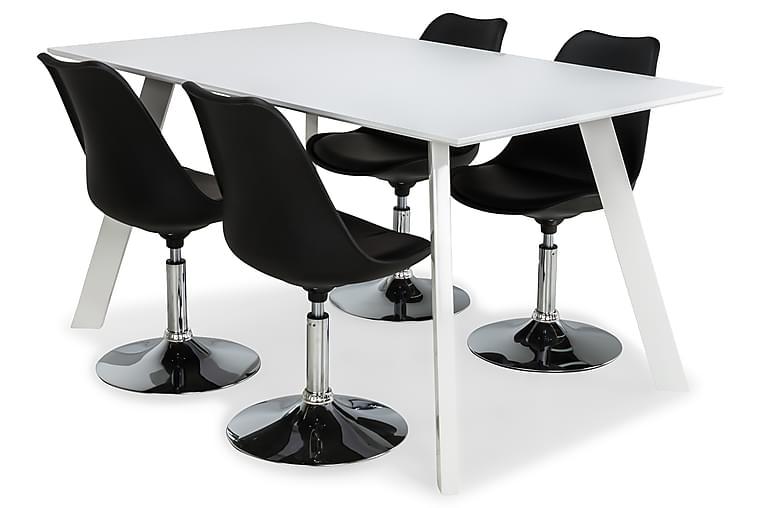 Fly Spisegruppe Hvit/Hvite Ben med 4 Shape Stoler - Svart - Møbler - Spisegrupper - Rektangulær spisegruppe
