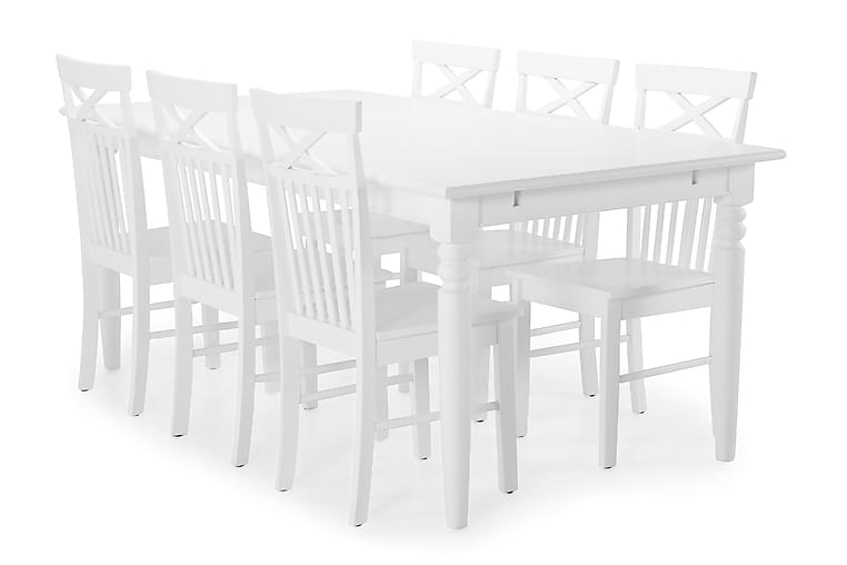 Hampton Spisebord med 6 Michigan stoler - Hvit - Møbler - Spisegrupper - Rektangulær spisegruppe