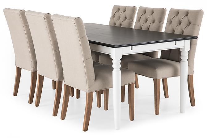 Hampton Spisegruppe 190 cm Mahognifiner med 6 Jenny Stoler - Hvit/Svart/Beige/Vintage - Møbler - Spisegrupper - Rektangulær spisegruppe