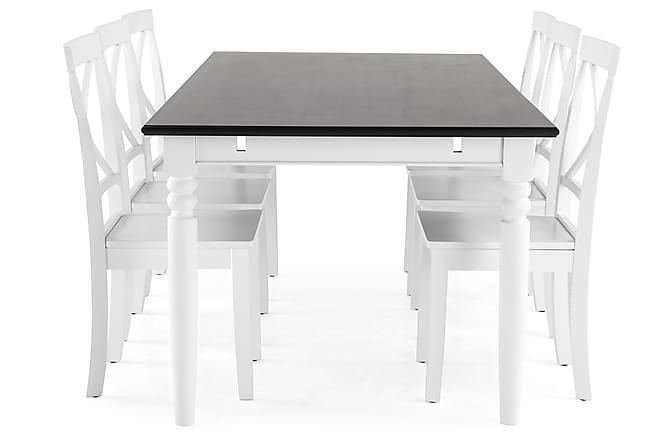 Hampton Spisegruppe 190 cm Mahognifiner med 6 Mirimar Stoler - Hvit/Svart - Møbler - Spisegrupper - Rektangulær spisegruppe