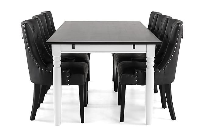 Hampton Spisegruppe 190 cm Mahognifiner med 6 Tuva Stoler - Hvit/Svart - Møbler - Spisegrupper - Rektangulær spisegruppe