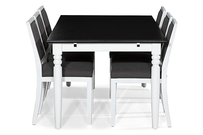 Hampton Spisegruppe 190 cm med 6 Frank Stol - Hvit/Grå - Møbler - Spisegrupper - Rektangulær spisegruppe