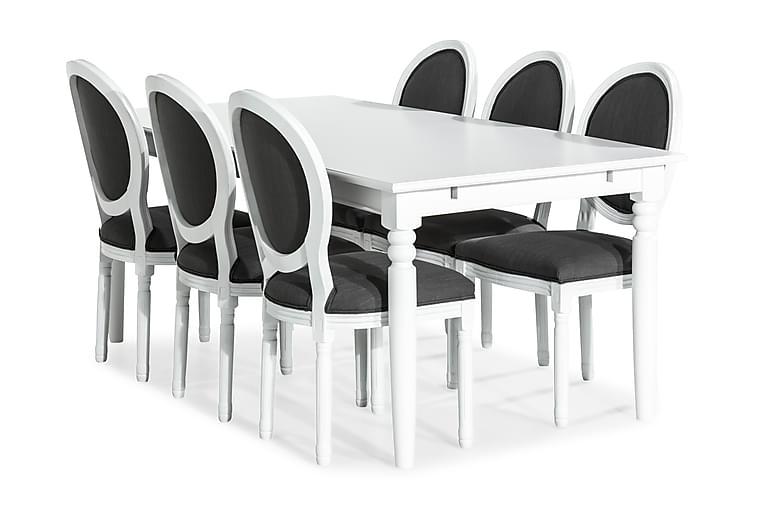 Hampton Spisegruppe 190 cm med 6 Lewis Stol - Hvit/Grå - Møbler - Spisegrupper - Rektangulær spisegruppe