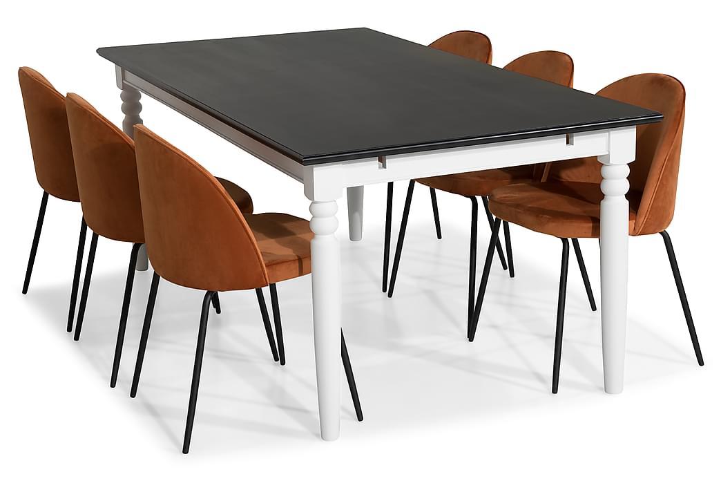 Hampton Spisegruppe 190 med 6 Felipe Stoler Fløyel - Svart/Oransje/Svarte Ben - Møbler - Spisegrupper - Rektangulær spisegruppe