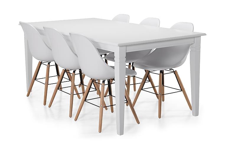 Hartford Spisebord med 6 Boxer stoler - Hvit - Møbler - Spisegrupper - Rektangulær spisegruppe
