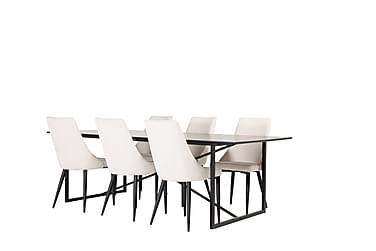Heily Spisegruppe 240 cm med 6 Ludde Spisestol
