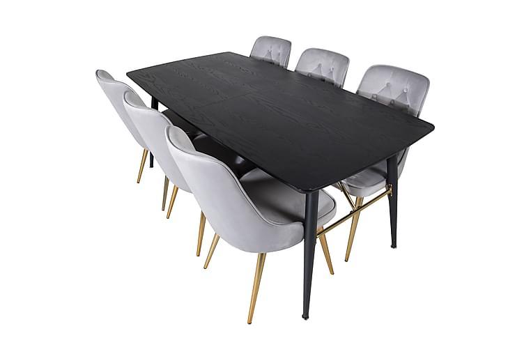 Irunea Spisebord 180 cm med 6 Valera Lyx Fløyelsstoler - Møbler - Spisegrupper - Rektangulær spisegruppe