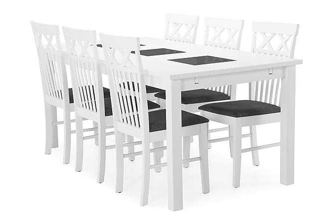 Jasmin Spisebord med 6 Rebecka stoler - Hvit - Møbler - Spisegrupper - Rektangulær spisegruppe