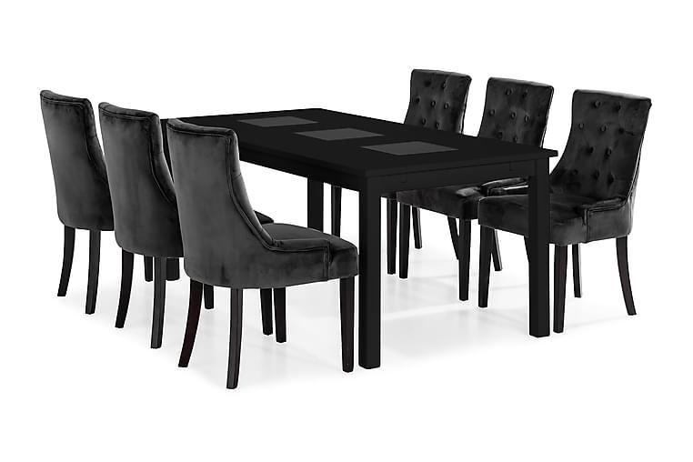 Jasmin Spisebord Med 6 Victoria Lenestol - Svart - Møbler - Spisegrupper - Rektangulær spisegruppe