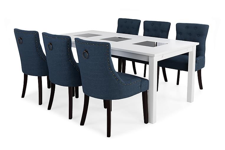 Jasmin Spisegruppe med 6 Viktoria Lenestoler - Hvit/Blå - Møbler - Spisegrupper - Rektangulær spisegruppe