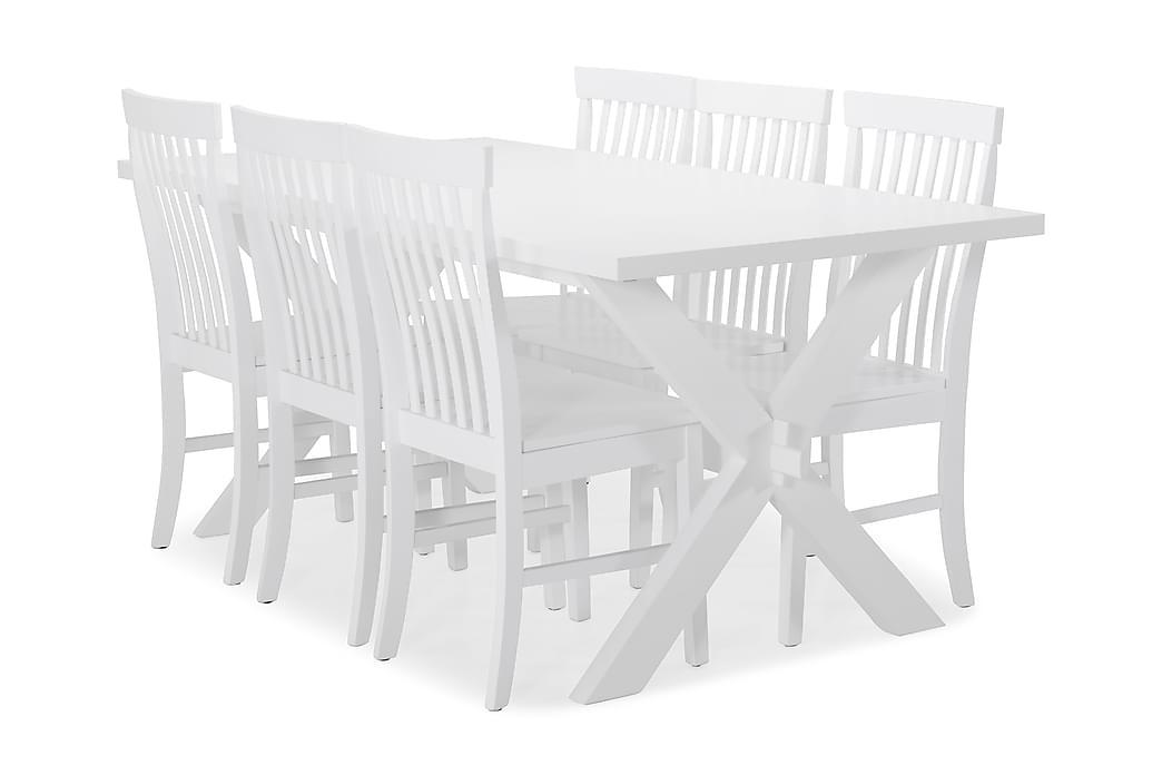 Linnea Spisebord med 6 Augusta stoler - X-ben/Hvitlakk - Møbler - Spisegrupper - Rektangulær spisegruppe