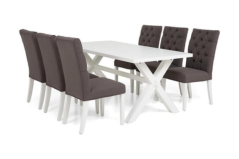 Linnea Spisegruppe 180 cm Hvit lakk - 6 stk Jenny Spisestoler - Møbler - Spisegrupper - Rektangulær spisegruppe