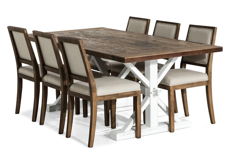 Lyon Forlengningsbar Spisegruppe 200 cm med 6 Frank Stol - Natur/Hvit/Beige/Brun - Møbler - Spisegrupper - Rektangulær spisegruppe