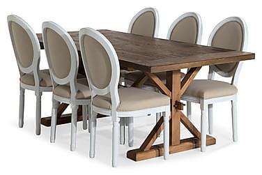 Lyon Forlengningsbar Spisegruppe 200 cm med 6 Lewis Stol