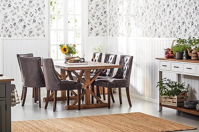 Lyon Forlengningsbar Spisegruppe 200 cm med 6 Tuva Stol - Natur/Brun - Møbler - Spisegrupper - Rektangulær spisegruppe