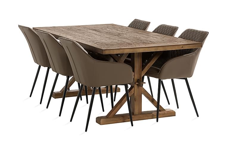 Lyon Spisegruppe 200x100 cm inkl. 6 Valleviken Karmstoler - Brun/Svart - Møbler - Spisegrupper - Rektangulær spisegruppe