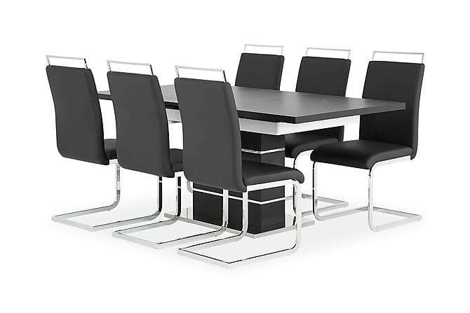 Macahan Bord 140 Svart/Hvit + 6 Isoda Stoler Svart - Møbler - Spisegrupper - Rektangulær spisegruppe