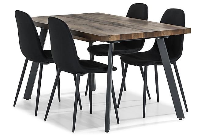 Marcelen Forlengningsbar Spisegruppe 140 cm med 4 Nibe Stol - Brun/Svart - Møbler - Spisegrupper - Rektangulær spisegruppe
