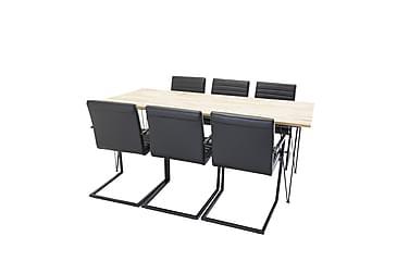 Miva Spisebord +Alva Stol svart/svart 6 stk.