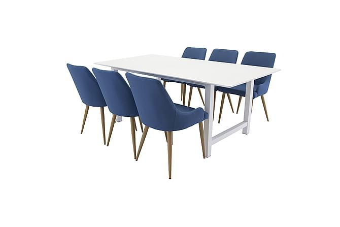 Naomi Spisegruppe med 6 Pelle Stoler - Hvit/Blå/Eik - Møbler - Spisegrupper - Rektangulær spisegruppe