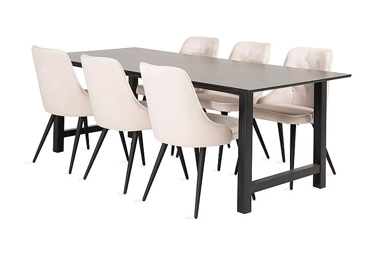 Naomi Spisegruppe med 6 Valera Lyx Fløyelsstol - Møbler - Spisegrupper - Rektangulær spisegruppe