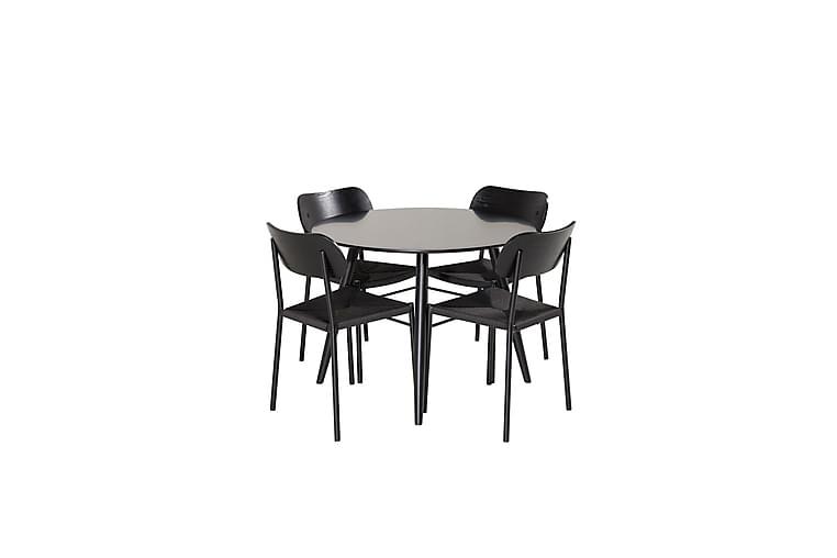 Pelle Spisegruppe 100 cm Rund med 4 Patsy Spisestoler - Svart - Møbler - Spisegrupper - Rektangulær spisegruppe