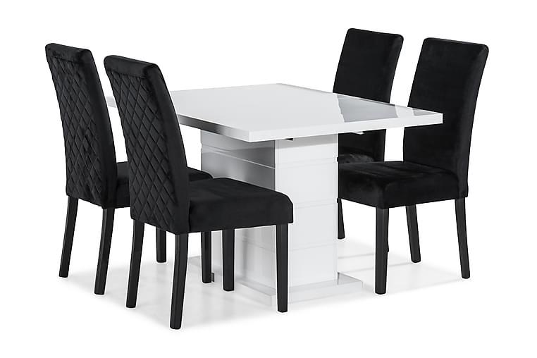 Ratliff Spisegruppe 120 cm med 4 Mazzi Stoler - Hvit/Svart - Møbler - Spisegrupper - Rektangulær spisegruppe