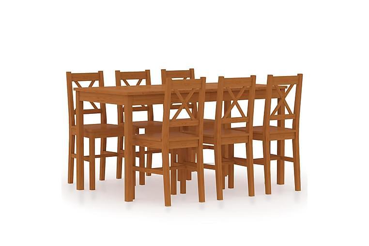 Spisestue 7 deler furu honningbrun - Brun - Møbler - Spisegrupper - Rektangulær spisegruppe