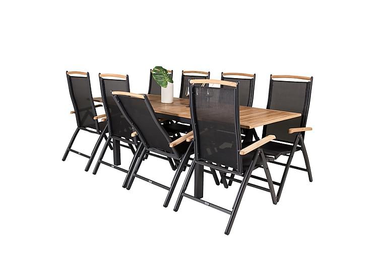 Tampa Spisegruppe + 8 Tampa posisjonsstoler - Svart/Teak - Møbler - Spisegrupper - Rektangulær spisegruppe