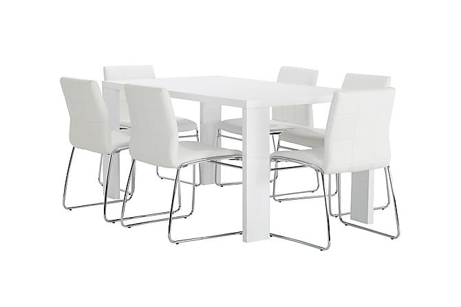 Thora Spisegruppe 160 cm + 6 Tirza Stoler - Hvit/Krom - Møbler - Spisegrupper - Rektangulær spisegruppe
