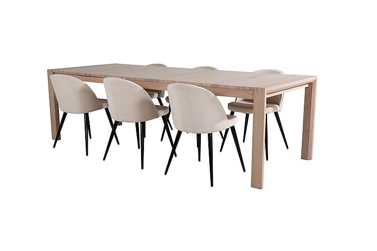 Torresolana Spisebord med 6 stk Valeri Spisestol Fløyel - Møbler - Spisegrupper - Rektangulær spisegruppe