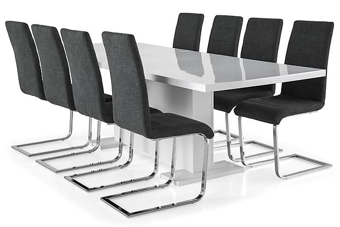 Zion Spisegruppe 200x40 cm med 8 Cibus Stoler - Hvit/Grå - Møbler - Spisegrupper - Rektangulær spisegruppe