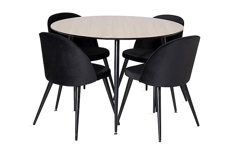 Azuer Spisebord Rund med 4 Valerie Kjøkkenstoler Fløyel - Møbler - Spisegrupper - Rund spisegruppe